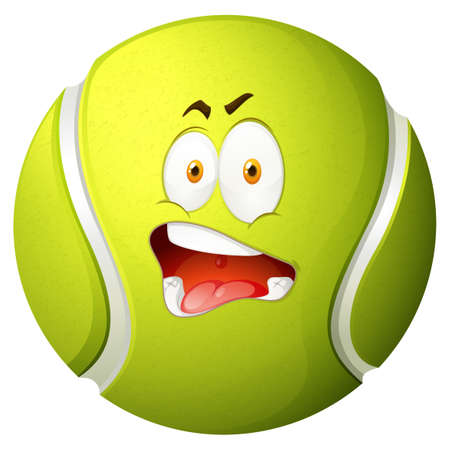 silly face: Tennis ball with silly face illustration