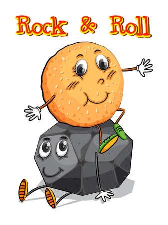 bollos: Rollo sentado en la ilustración de rock