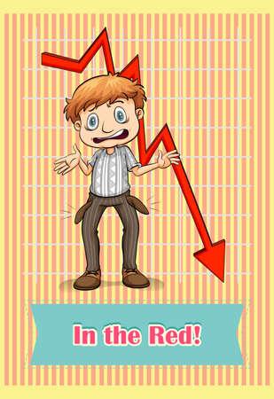 idiom: Idiom saying in the red illustration Illustration
