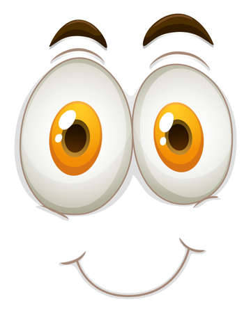 express feelings: Happy face on white illustration Illustration