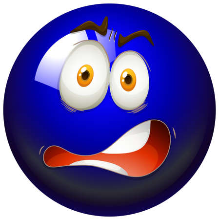 funn: Facial expression on blue ball illustration