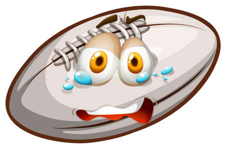 crying face: Rugby with crying face illustration