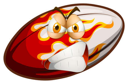 funn: Angry face on rugby ball illustration