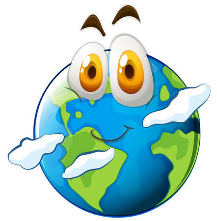 planet earth: Earth with happy face illustration Illustration
