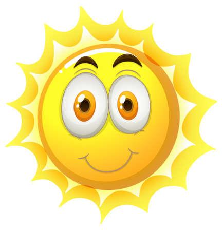 body language: Happy face on the sun illustration