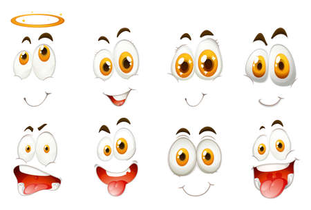 funny face: Different kind of facial expressions illustration