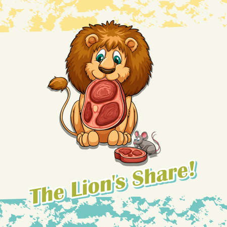 lion drawing: The lions share idiom illustration Illustration