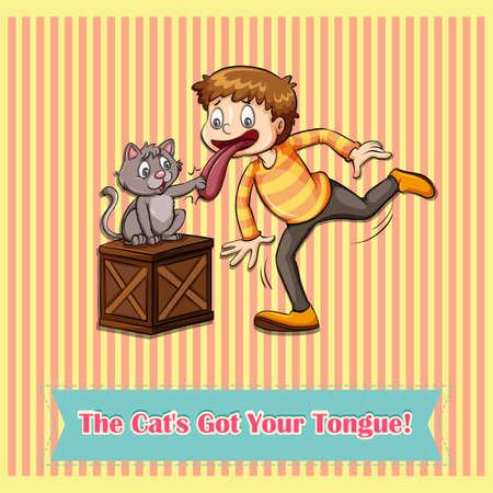 figurative: Idiom cats got your tongue illustration