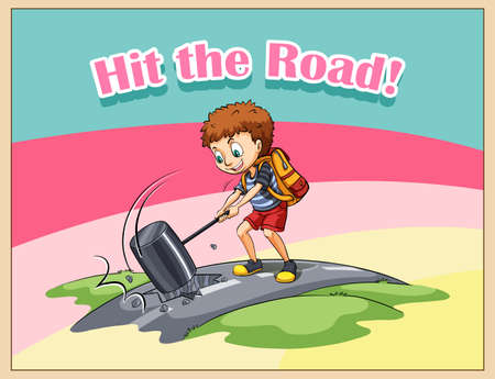 idiom: Hit the road idiom illustration
