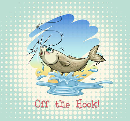 idiom: English idiom off the hook illustration