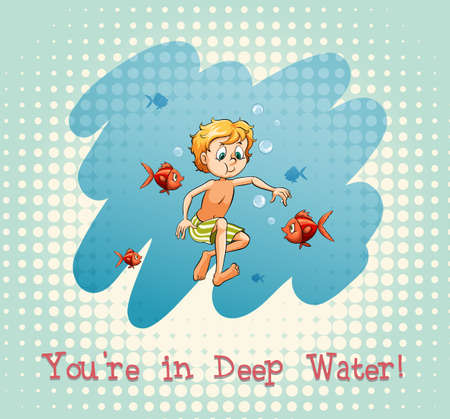 deep water: Idiom youre in deep water illustration
