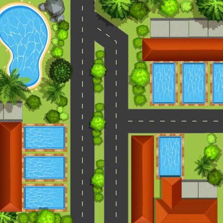 cenital: Vista superior de ilustración barrio