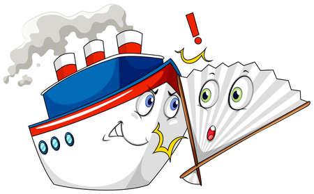 crashing: Ship crashing into a fan illustration