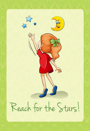 figurative: Saying reach for the stars illustration