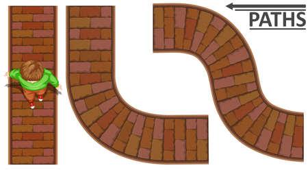 walking path: Man walking on brick path illustration