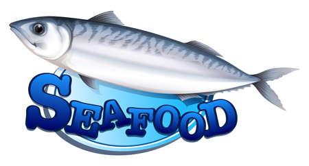 sardine: Thunfisch und Meeresfr�chte Zeichen Illustration Illustration