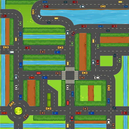 traffic: Top view of cars on street illustration