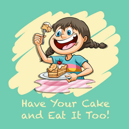 children eating: Have your cake and eat it too illustration
