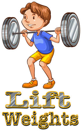 weight weightlifting: Strong man doing weightlifting illustration
