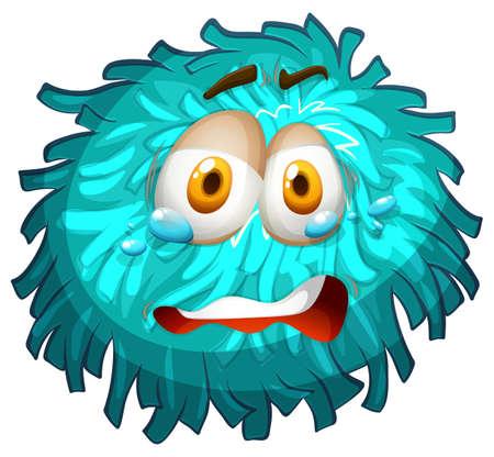 pompom: Pom-pom di pianto faccia illustrazione Vettoriali