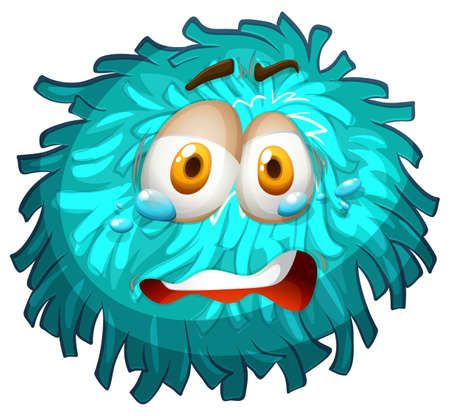 crying face: Pom-pom with crying face illustration Illustration