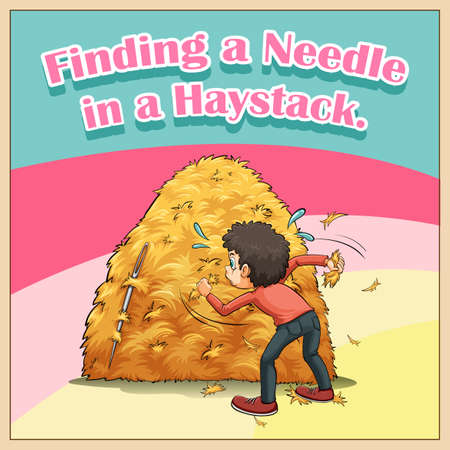figurative art: Finding a needle in a haystack illustration