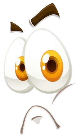 expression visage: L'expression du visage sur l'illustration blanche Illustration
