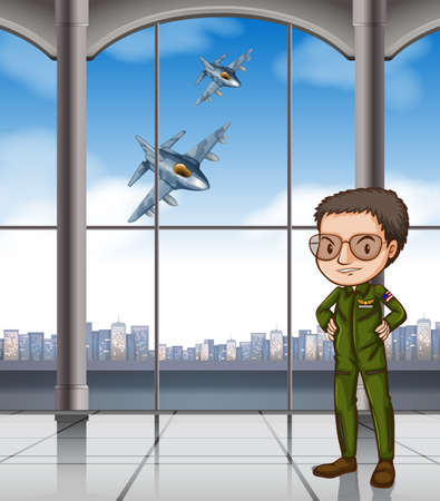 airforce: Airforce pilot at base illustration