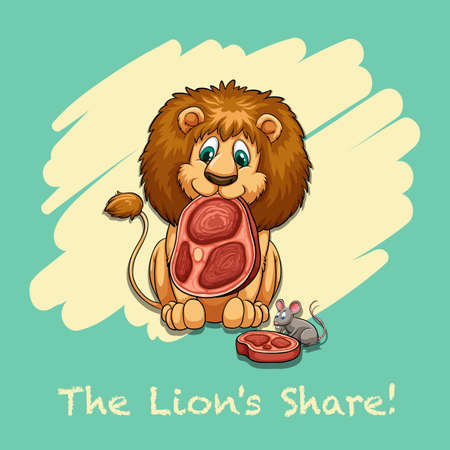 lion clipart: The lions share idiom illustration Illustration