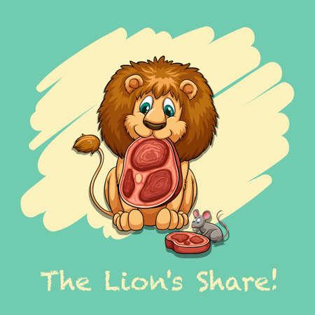 idiom: The lions share idiom illustration Illustration