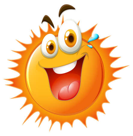 express feelings: Bright sun with happy face illustration Illustration