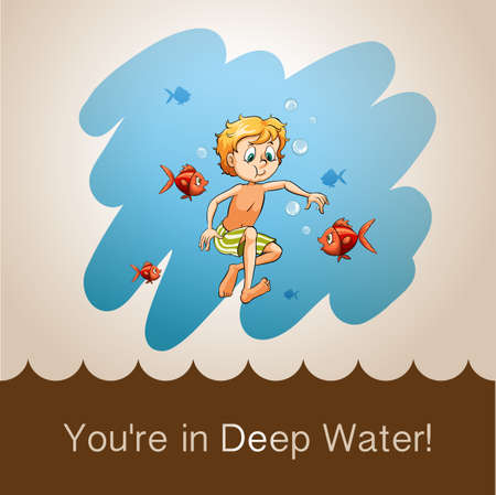 figurative: Idiom youre in deep water illustration