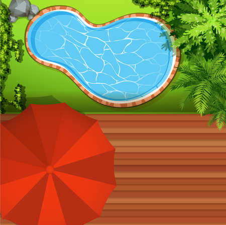 garden pond: Hawkeye view of swimming pool illustration
