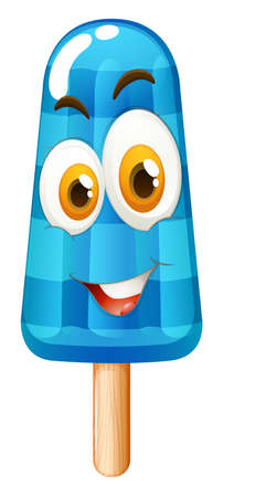 popsicle: Popsicle with happy face illustration