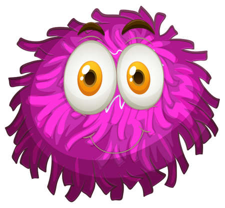 mime: Purple pom-pom with happy face illustration
