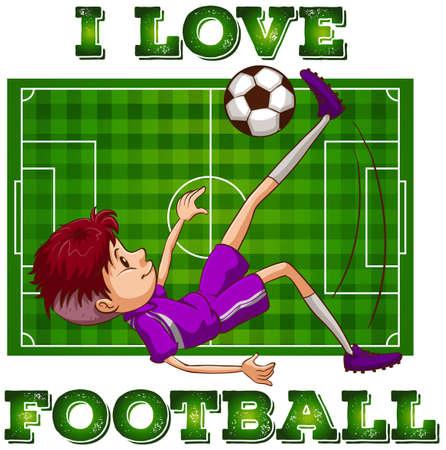 green field: Boy in sportswear playing football illustration