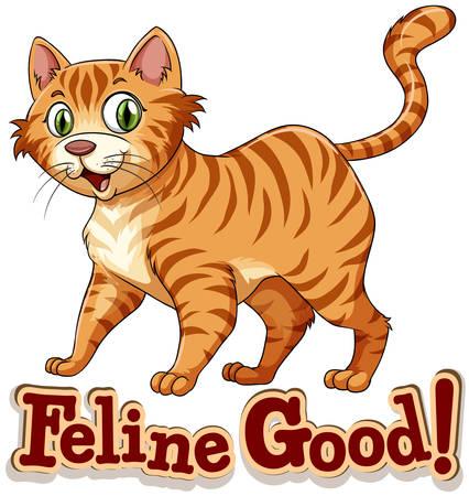 ginger cat: Ginger cat standing alone illustration Illustration