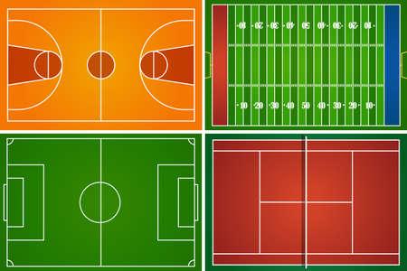 cancha de futbol: Deporte campos y canchas ilustración