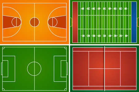 terrain de football: Sport champs et les tribunaux illustration Illustration