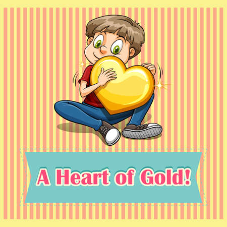 Heart of gold idiom illustration