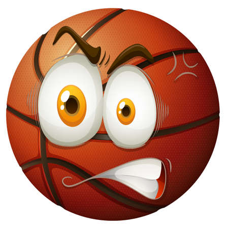 brow: Basketball with angry face illustration