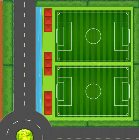 football field: Top view of football fields illustration