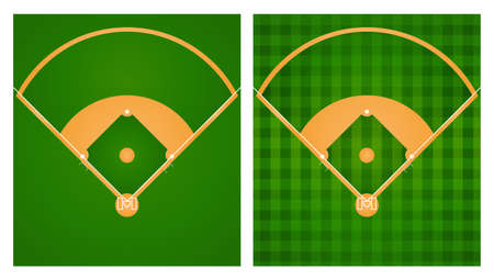 Baseball field in two lawn designs illustration