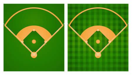 campo de beisbol: Campo de béisbol en el césped de dos diseños de la ilustración Vectores