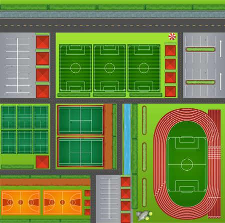terrain foot: Club de sport avec les tribunaux et feilds illustration Illustration