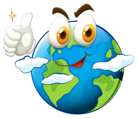planet earth: Earth with face and thumb up illustration