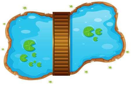 ponds: Small pond with a bridge illustration