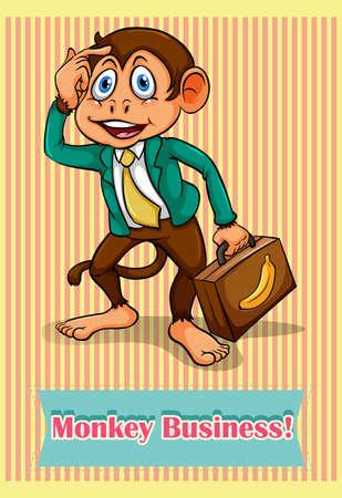 idiom: Idiom saying monkey business illustration