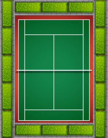 hard court: Tennis court with bushes around illustration
