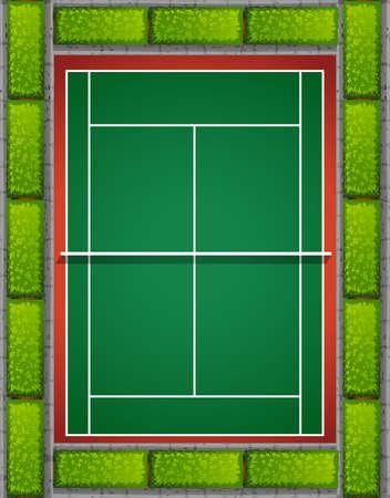 bushes: Tennis court with bushes around illustration